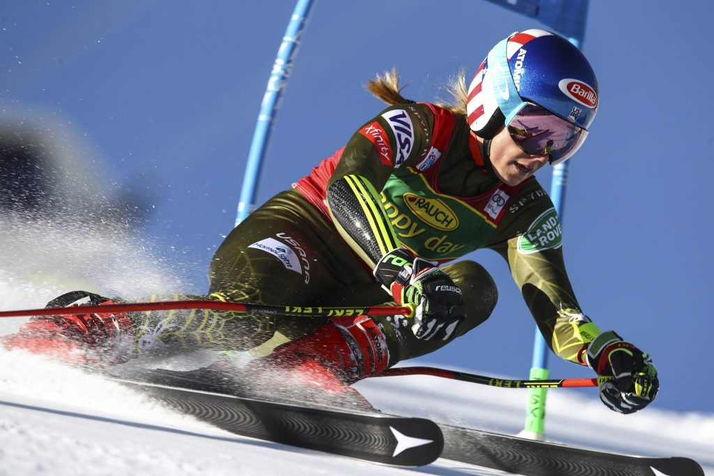 Mikaela Shiffrin powers past a gate during Saturday's traditional World Cup opener in Soelden, Austria. Shiffrin finished second, saying that she made some mistakes on her second run.