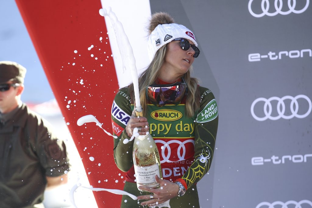 Mikaela Shiffrin celebrates on podium after finishing second in Saturday's Soelden, Austria GS. Her next stop is a slalom in Levi, Finland, on Nov. 23.