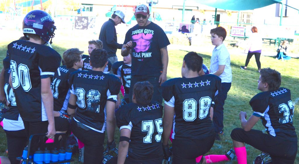 St. Clare Coach Angelo Vasquez kept his team focused and fired up. Thomas Dekanich ran back the opening kickoff 99 yards for a touchdown. During a halftime exhibition Elias Pena kicked three field goals, each worth hundreds of dollars pledged to the cause. St. Clare beat Summit Middle School 32-0.