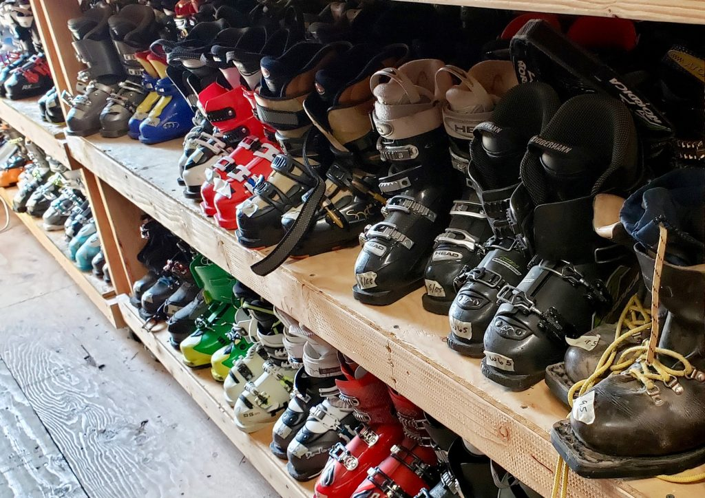 There are both newer and vintage ski boots ready to hit the shelves at the Thrifty Shops as staff prepare for a seasonal inventory shift.