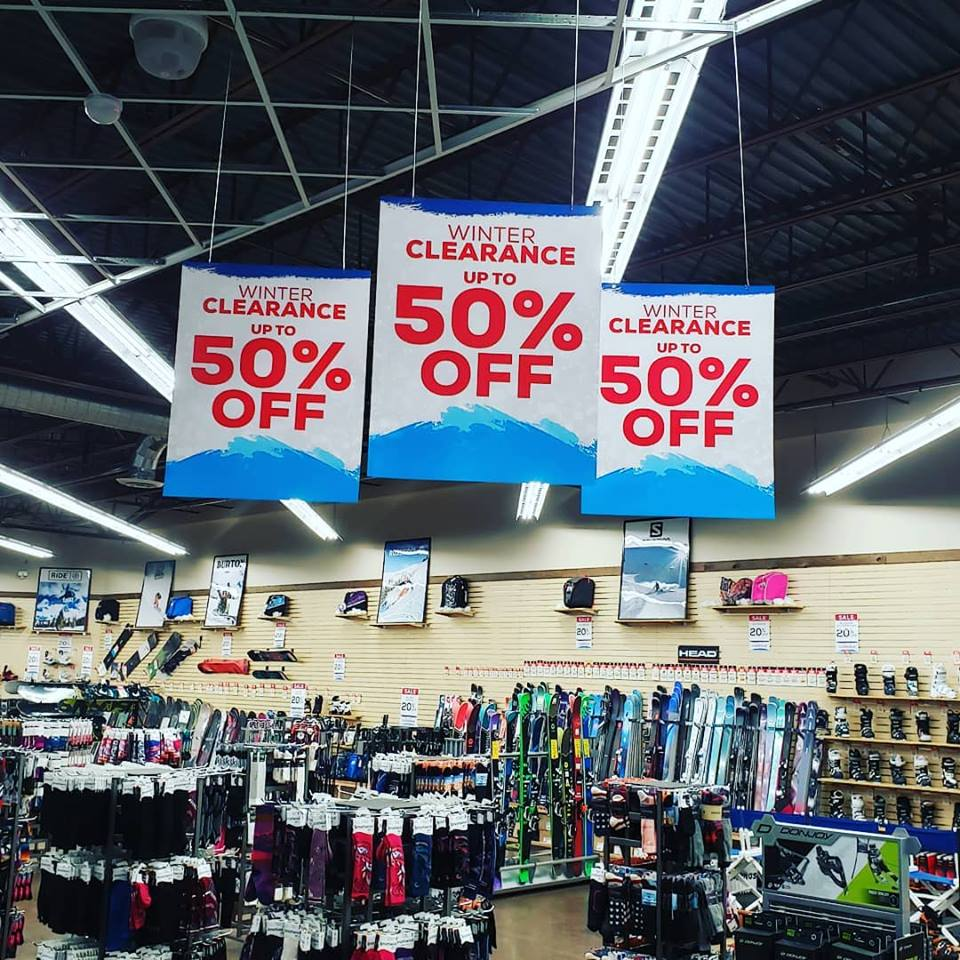 Signs above merchandise indicate a sales event earlier this year at Sun & Ski Sports in Avon. The store will have another sale this weekend allowing you to get your gear at a discount before the season starts.