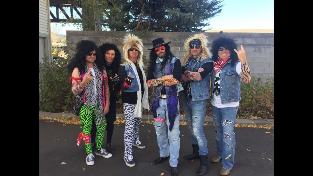 Members of local band Rewind dress the part of retro rockers in this photo. Rewind will be playing at the Route 6 Cafe on Friday. This weekend there will be plenty of costume parties with live bands and other ways for adults to get into the Halloween spirit.