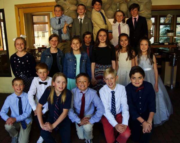 The Vail Ski & Snowboard Academy fifth grade cotillion enrichment class taught by Colin Meiring of Vail Performing Arts Academy celebrates their graduation at La Tour Restaurant in Vail.