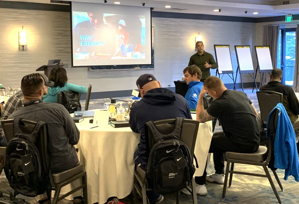 Chris Diaz led the sessions for the Johnson & Johnson Human Performance Institute, held at Vail's Grand Hyatt. Diaz made the successful transition from the military as a Navy corpsman to launching a business as a human performance coach