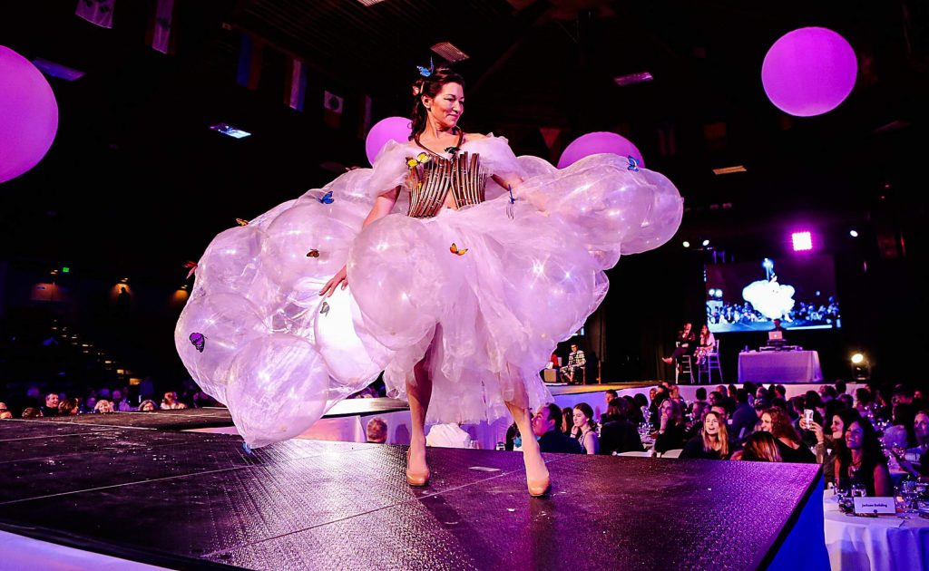 Gayle Braunholtz rocks her Flutterfly Dress, which she designed herself, for Project Funway Saturday, Feb. 9, at Dobson Arena in Vail. The event benefits Education Fund of Eagle County, and features kids, young adults and adult fashions. The 2018 event raised $151,744 for Eagle County School.