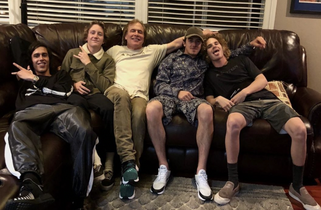 Jake Carpenter Burton on the couch with some well-known members of his team.