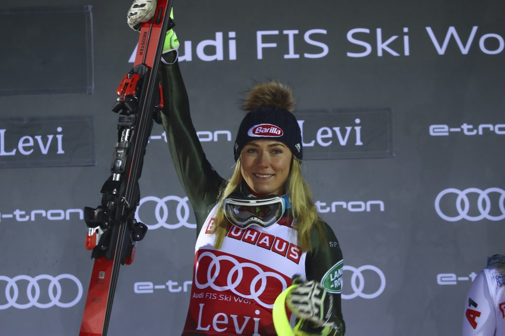 United States' Mikaela Shiffrin celebrates on the podium after winning Saturday's World Cup slalom in Levi, Finland on Saturday.