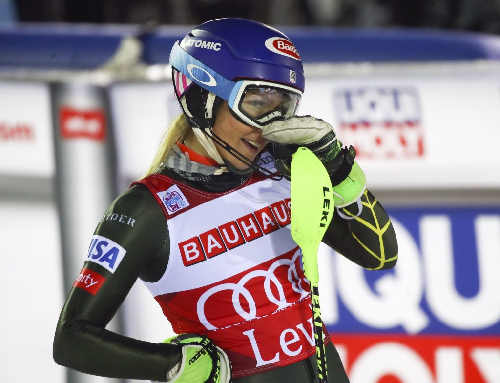 United States' Mikaela Shiffrin reacts after completing an alpine ski, women's slalom in Levi, Finland, Saturday, Nov. 23, 2019. (AP Photo/Alessandro Trovati)