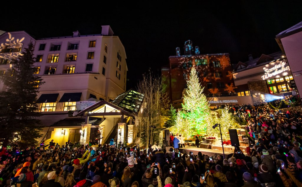 All eyes are on the tree at Beaver Creek during the annual Tree Lighting ceremony. An Ice Skating show, visits from Santa and and Santa's Workshop with arts and crafts rounds out the event on Friday.