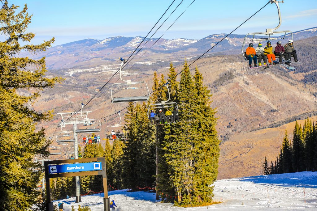 Chair lifts sport people as season commences for the season Friday in Vail.