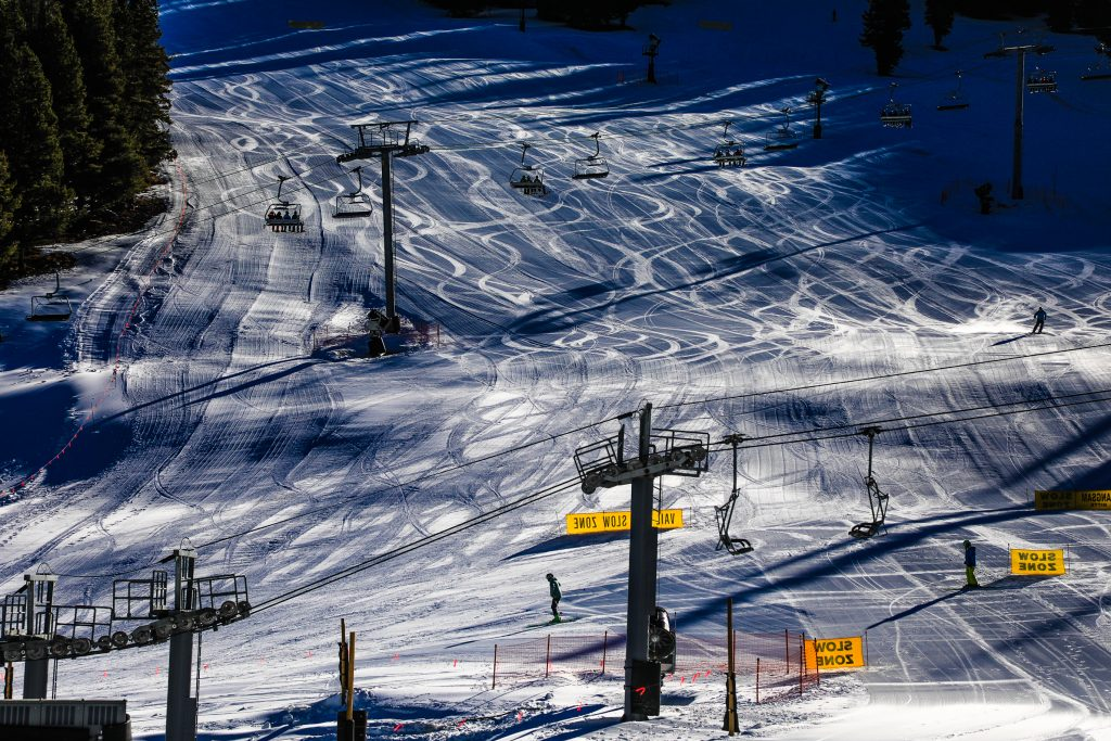 Freshly-groomed corduroy is painted on Vail's opening day Friday at MidVail.