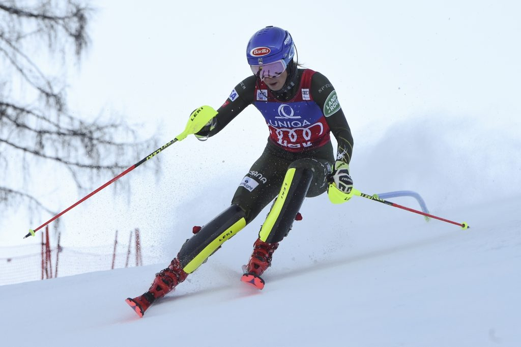 Mikaela Shiffrin speeds down the course during Sunday's World Cup slalom in Austria. Shiffrin bagged her 64th career victory.