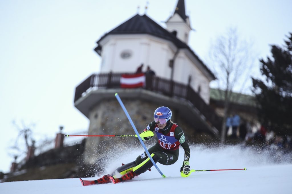 Mikaela Shiffrin speeds down the course during Sunday's World Cup slalom in Austria.