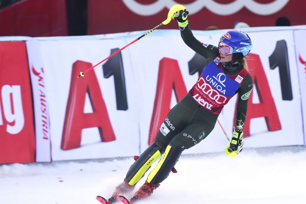 Mikaela Shiffrin reacts after completing a World Cup slalom in Lienz, Austria, on Sunday.