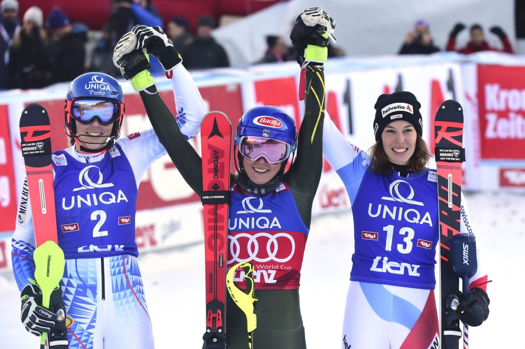 From left, Slovakia's Petra Vlhova, Mikaela Shiffrin and Switzerland's Michelle Gisin celebrate after Sunday's World Cup slalom in Austria.
