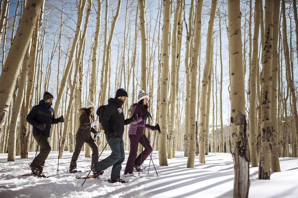 Several events involve snowshoeing or skiing and then enjoying food and drink.