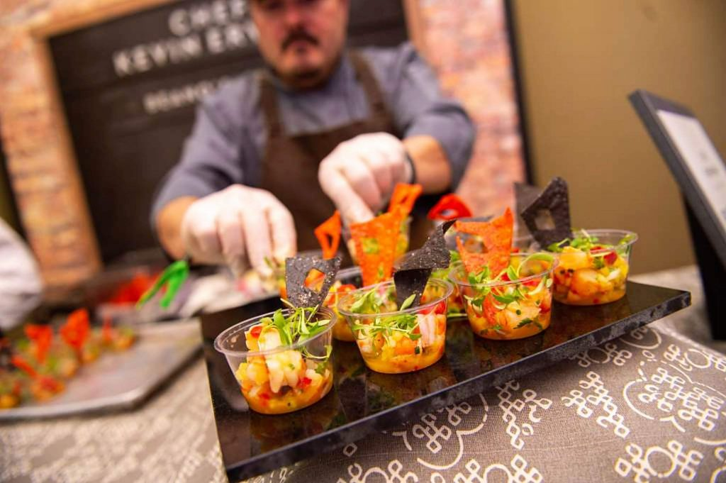 At the Synesthesia culinary showcase event, guests try food from local and visiting chefs and can stay for a concert from St. Paul & the Broken Bones in the Vilar Performing Arts Center.