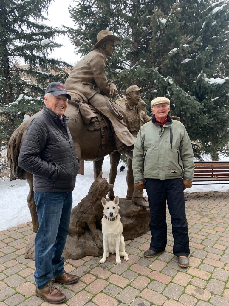 Sculptor Herb Mignery, left, and Roger Tilkemeier are all smiles as their vision finally finds a home in Vail. The sculptor