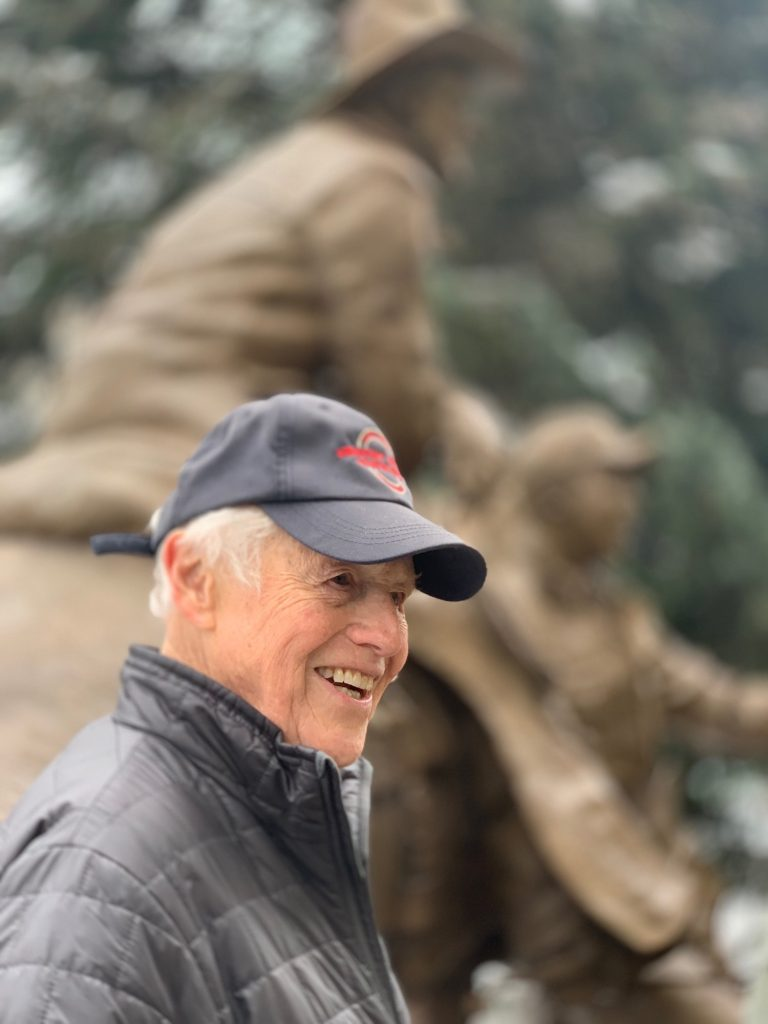 Sculptor Herb Mignery grew up on a ranch and captured the vision forthe bronze piece, honoring Vail Founder Pete Seibert and the Gore Creek Valley ranchers.