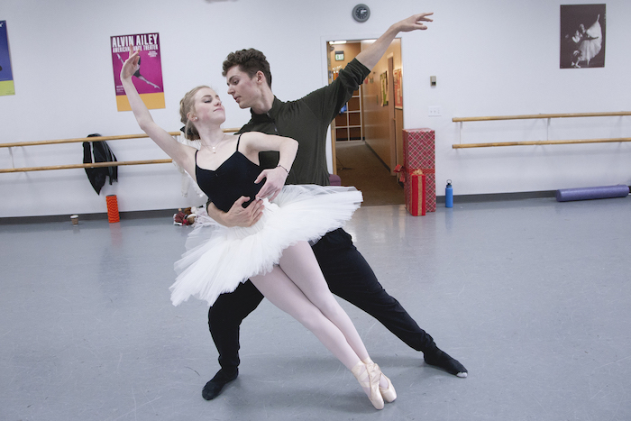 Taylor Petrowski and Nathan Crewe-Kluge rehearse