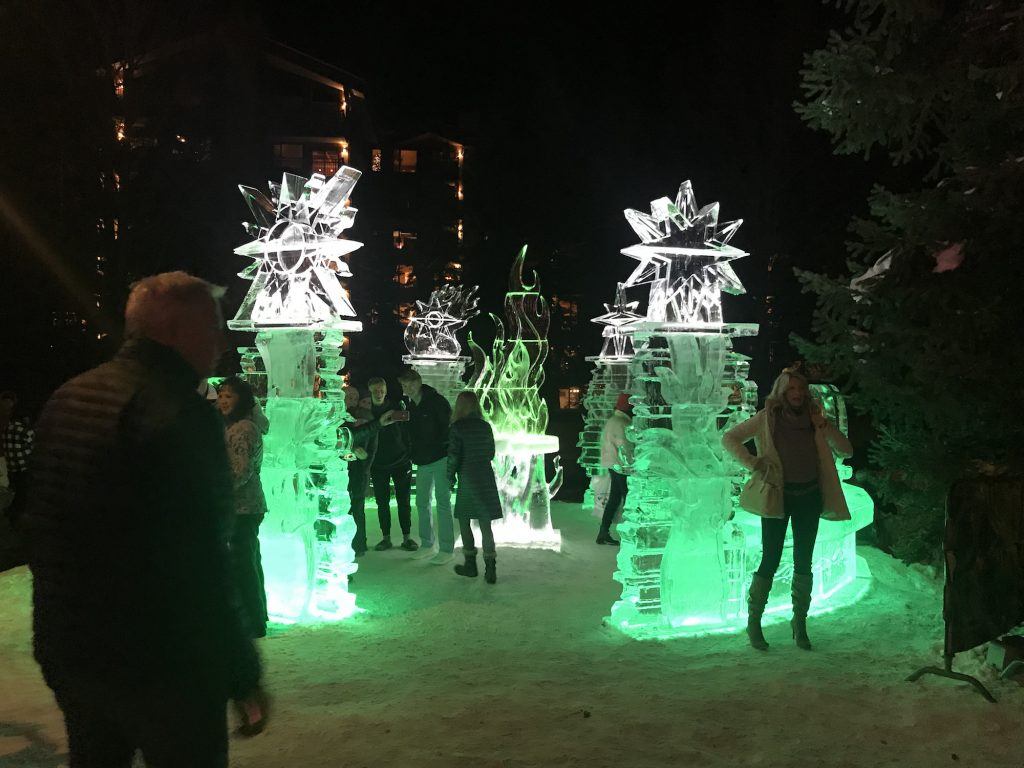 View the sights of ice and snow being illuminated during the 13th annual Vail Winterfest along the Gore Creek Promenade.
