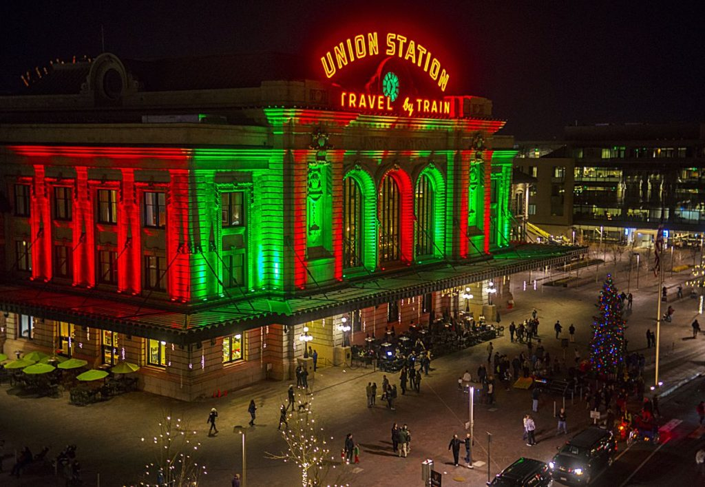 Denver Union Station lights up both outside and out for the holidays.