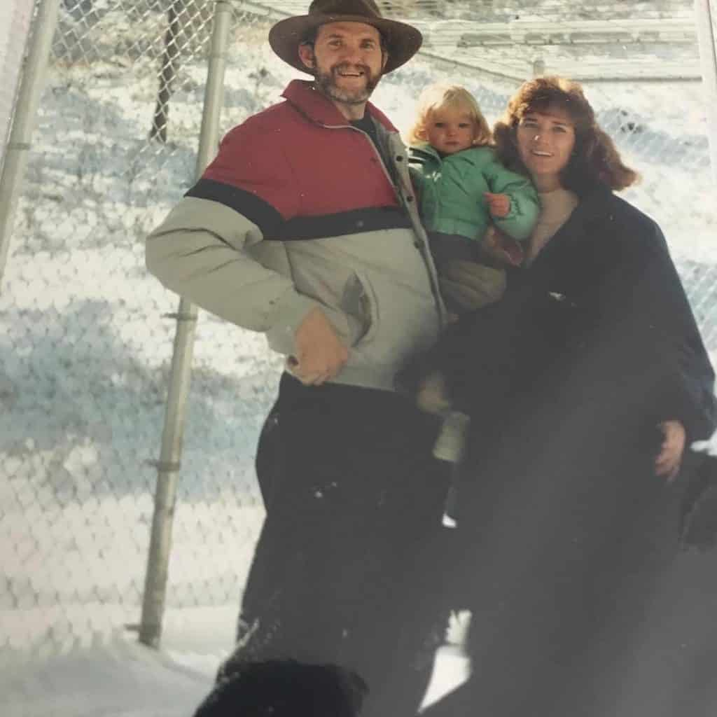 Those are Cole Greenfield's parents and Festus, a black bear Cole grew up with in Bozeman, Montana.