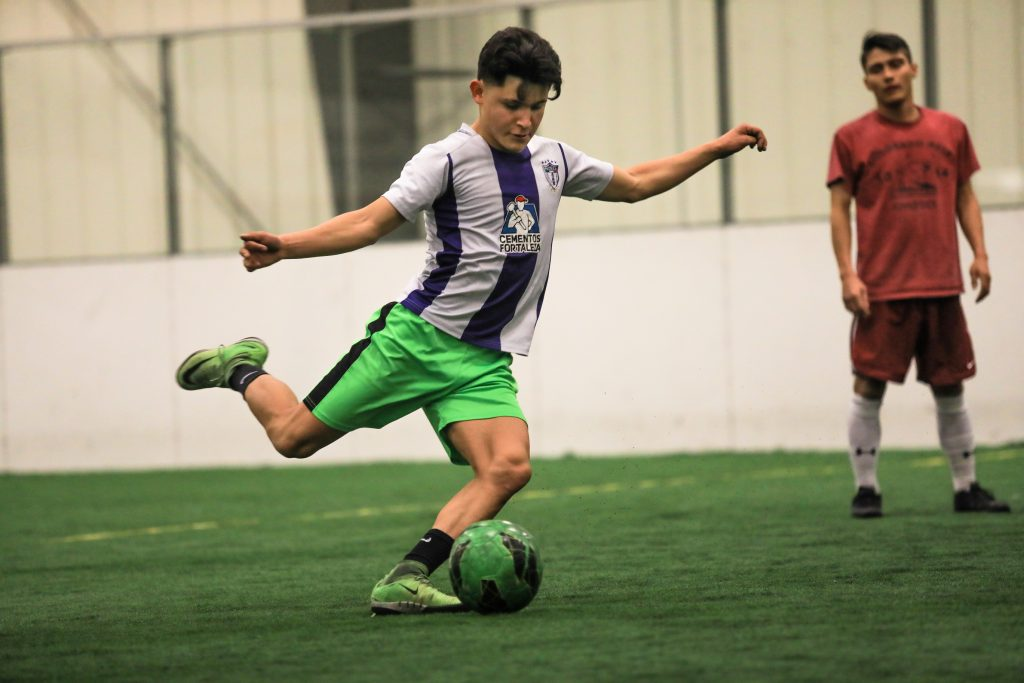 Freedom FC's Saul Sinaloa cranks up a shot during practice, as the local professional arena soccer team prepares for Saturday's season opener.