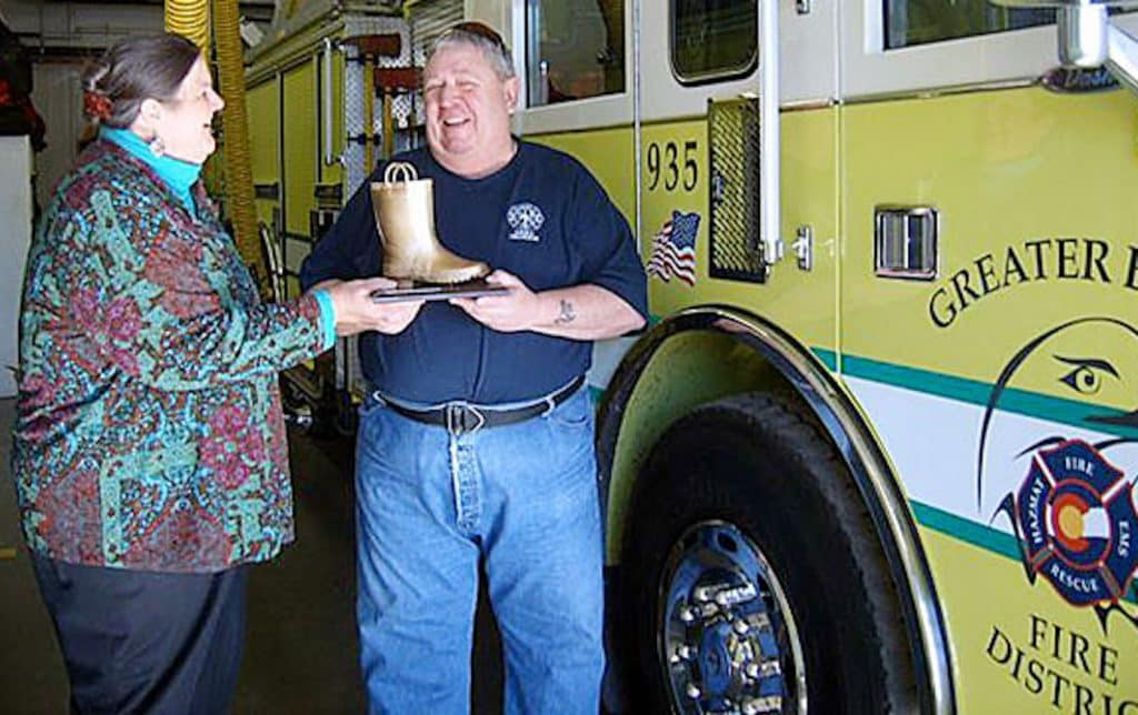 The Eagle fire department is one of the leaders for their work in the annual Jerry Lewis Muscular Dystrophy Telethon and fund drive. That's the Golden Boot Award.