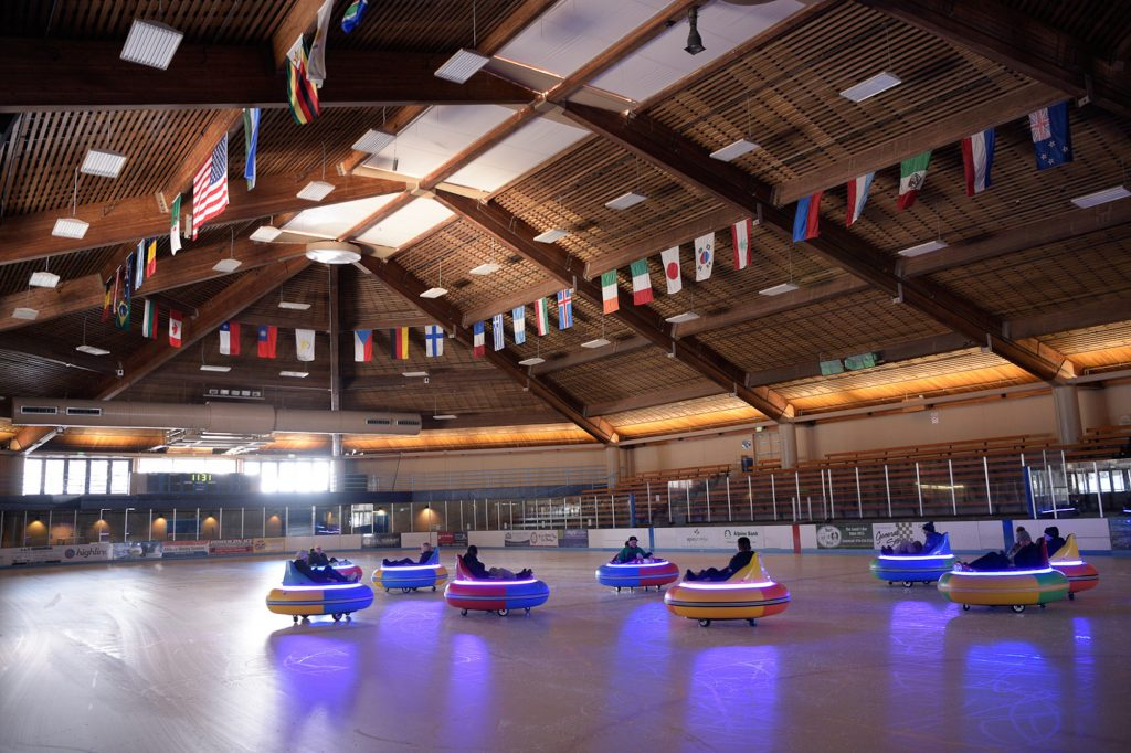 Ice bumper cars are the newest attraction in Vail. Great for all ages and abilities, end your day while bumping around the Dobson Ice Arena.