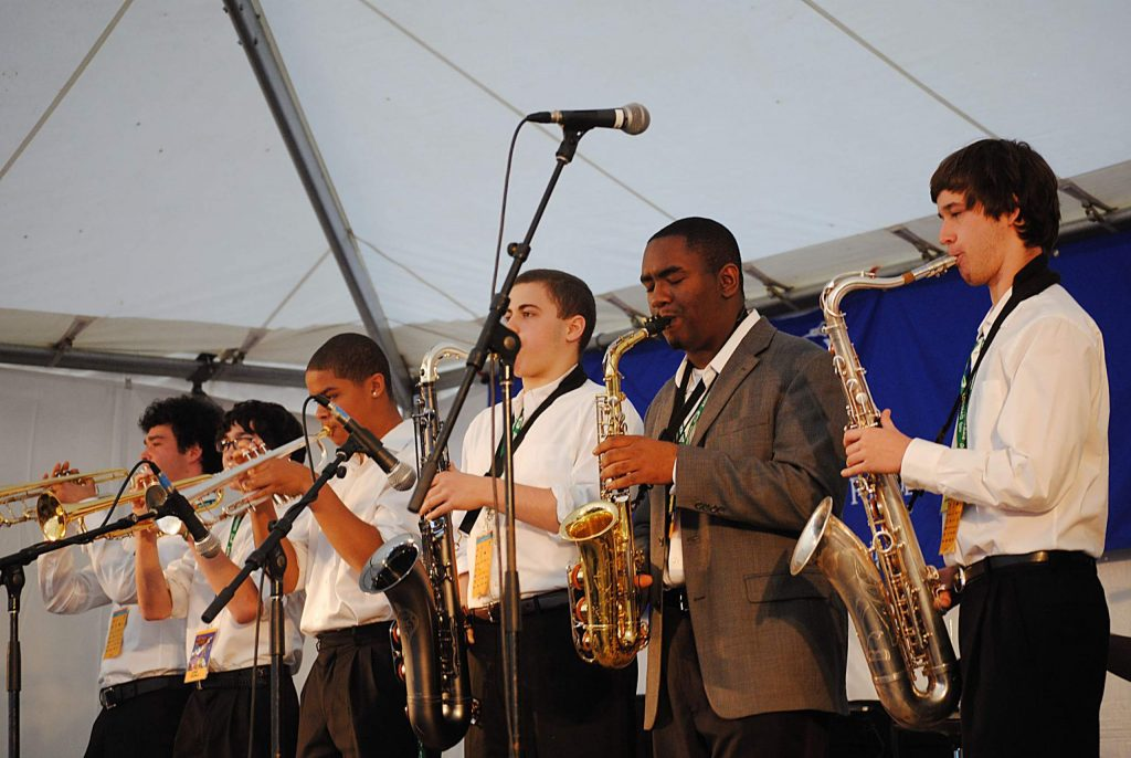 Patrick Bartley, (second from right) participated in the Vail Jazz Workshop about a decade ago. The workshop will continue virtually this year.