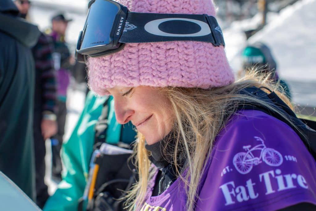 Jamie Anderson, takes a moment before walking up to the podium after winning the Burton US Open Slopestyle.