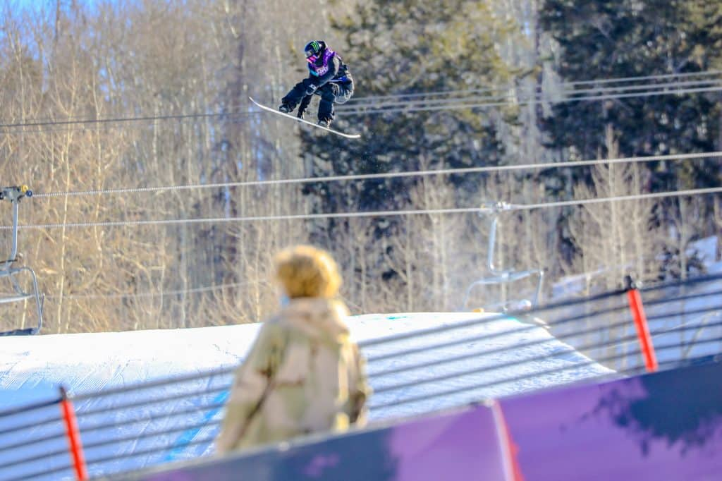 Zoi Sadowski-Synnott grabs during the Burton US Open womens slopestyle semi-finals Wednesday in Vail. Sadowski-Synnott took first in qualifiers.