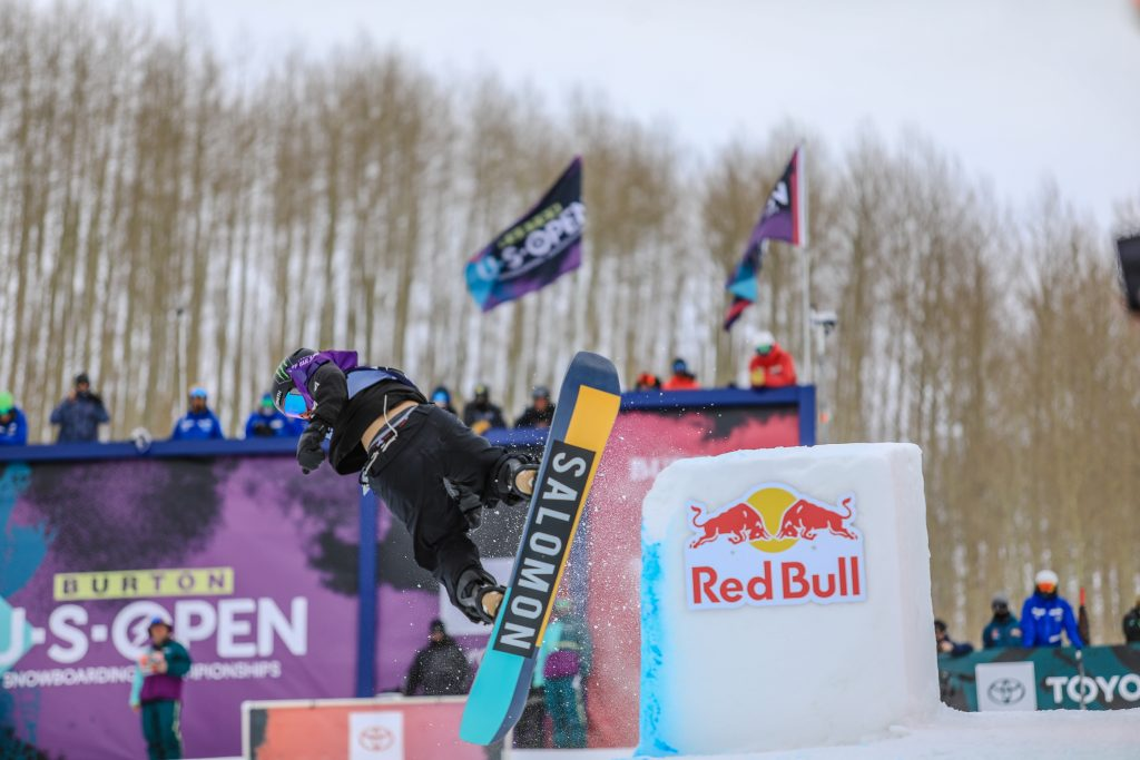 Lucas Foster during the mens halfpipe semifinals for the Burton US Open in Vail.