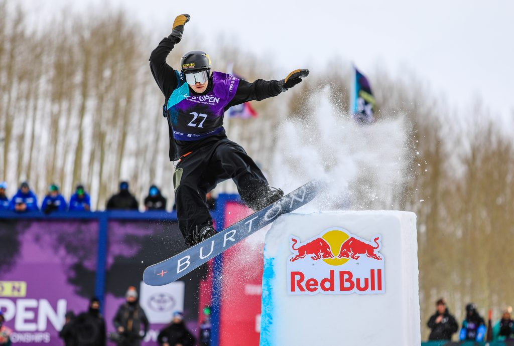 Jake Pates of Eagle boardslides the tombstone feature of the modified halfpipe during the mens halfpipe semifinals for the Burton US Open Thursday in Vail. Pates advanced to the finals Saturday.