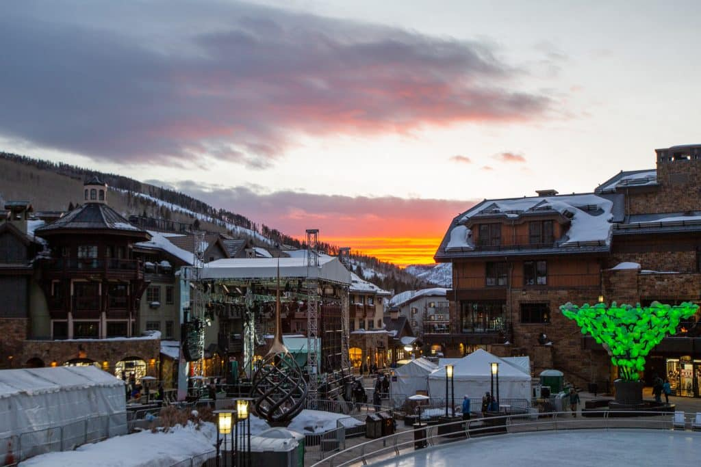 The sun sets over the concert stage at Solaris Thursday in Vail.