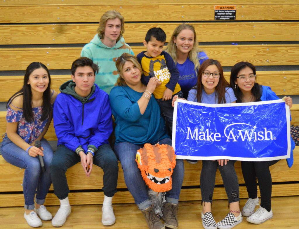 These students are spearheading Eagle Valley's Wish Week efforts to help Make-A-Wish Colorado send Rehan Fernandez to Florida's Universal Studios theme park. Back row from left: Billy Johnson and Jasmine Hermosillo. Front row from left: Amy Macias, Jovany Zubiran, Rehan's mother Isabel, Rehan Fernandez, Daniela Rubio, Emily Santoyo.