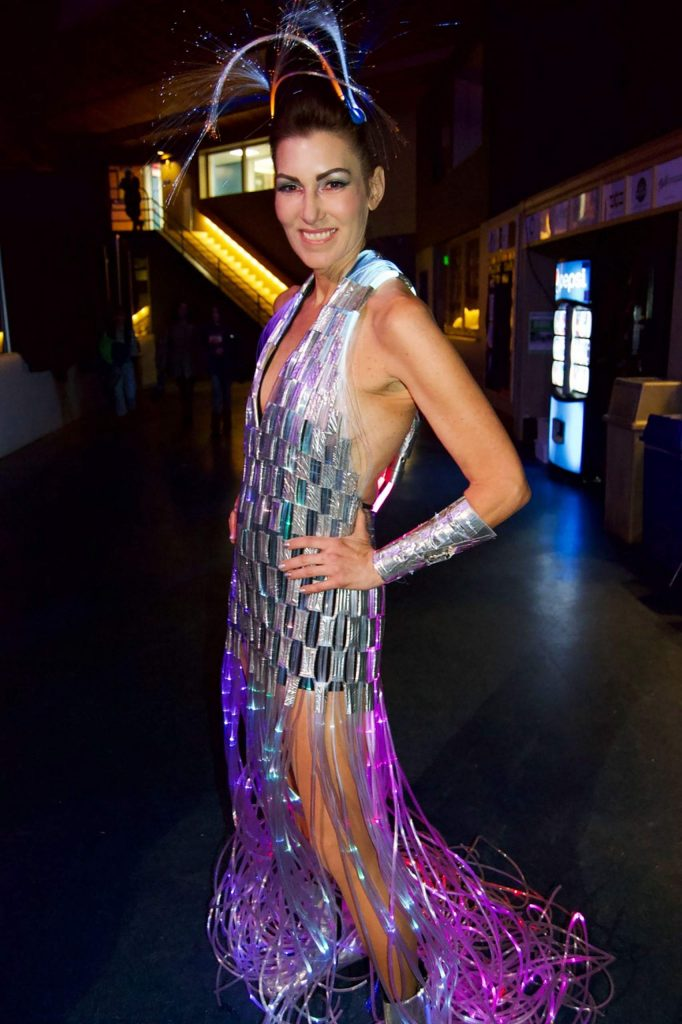Gayle Braunholltz wore a dress created from fiber optic lights for Project Funway 2020, in support of the Education Foundation of Eagle County.