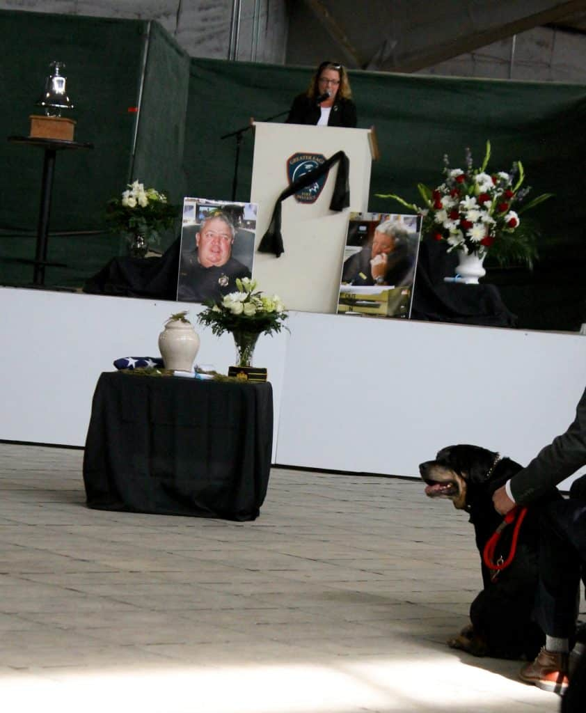 Jaycee - Jon Jon's most recent Rottweiler companion joins his human friends for his memorial service Saturday.