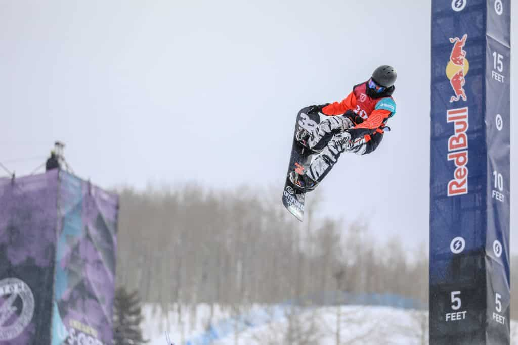 Fynn Bullock-Womble does a tail grab during the Junior Jam kick off for the Burton US Open Tuesday in Vail. Bullock-Womble took first and will have a spot in the pro semi-finals on Thursday.