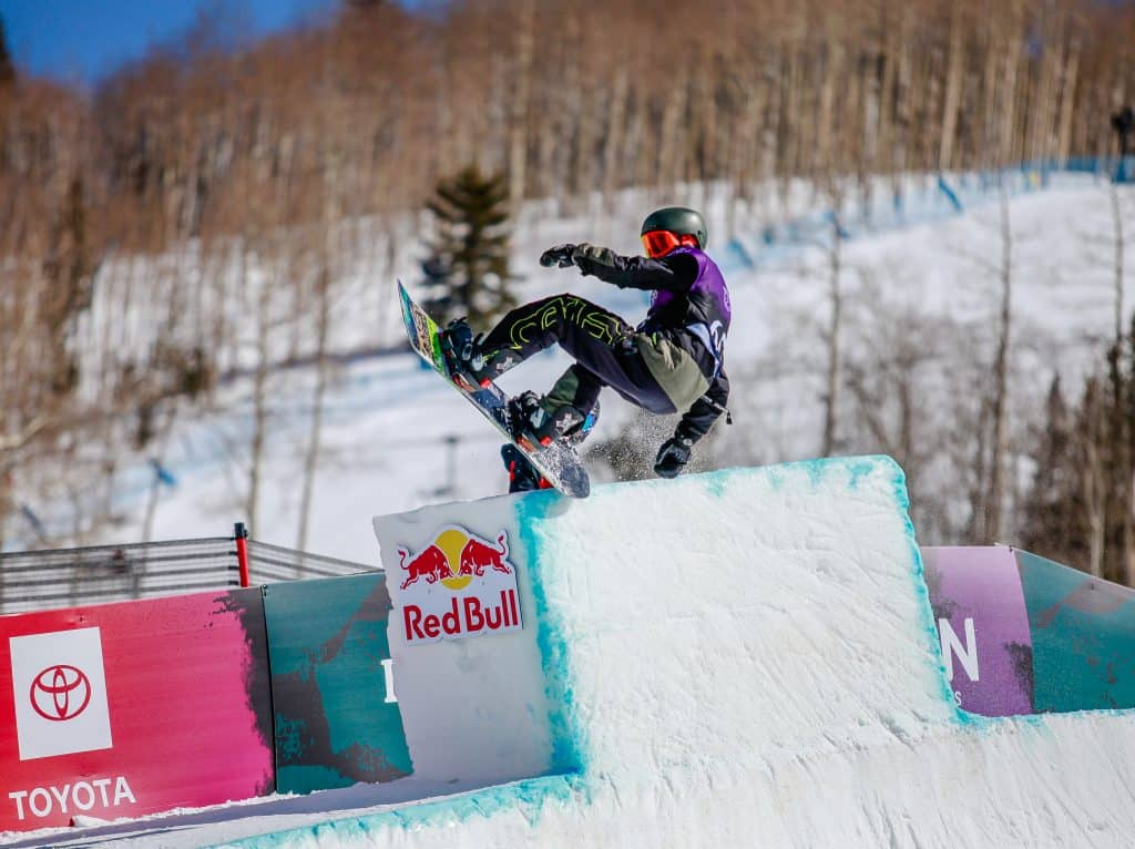 Joey Okesson rides the tombstone during the mens halfpipe semifinals for the Burton US Open in Vail.