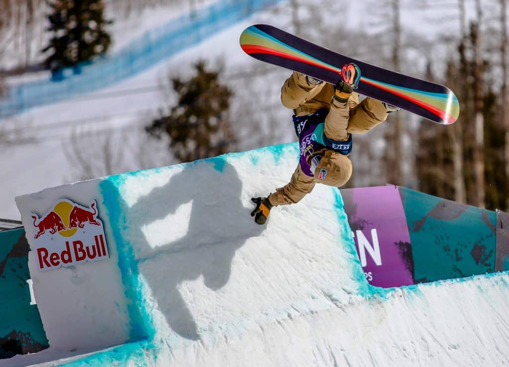 Danny Davis hand plants during the mens halfpipe semifinals for the Burton US Open in Vail.