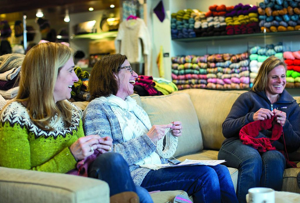 Maker+Stitch has grown into a vibrant community center where knitting enthusiasts and knitting wannabes gather in a cozy space that feels more like a living room than a store.