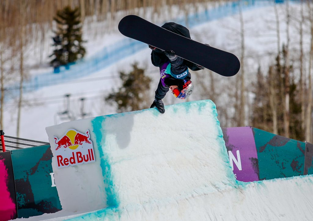 Scotty James hand plants on the tombstone feature of the modified halfpipe for the mens halfpipe semifinals during the Burton US Open Thursday in Vail. James qualified first.