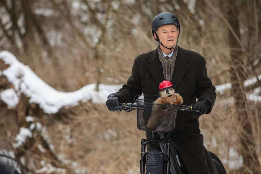 That's a QuietKat bike being ridden by Bill Murray and his groundhog in the Super Bowl commercial, featuring an electric mountain bike made in Eagle.