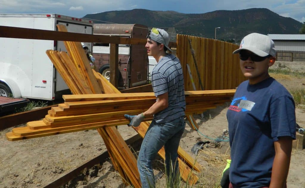 Guardian Scholars and My Future Pathways students don't just receive help, they give it. Among their many projects, they volunteer time and work with Habitat for Humanity Vail Valley.