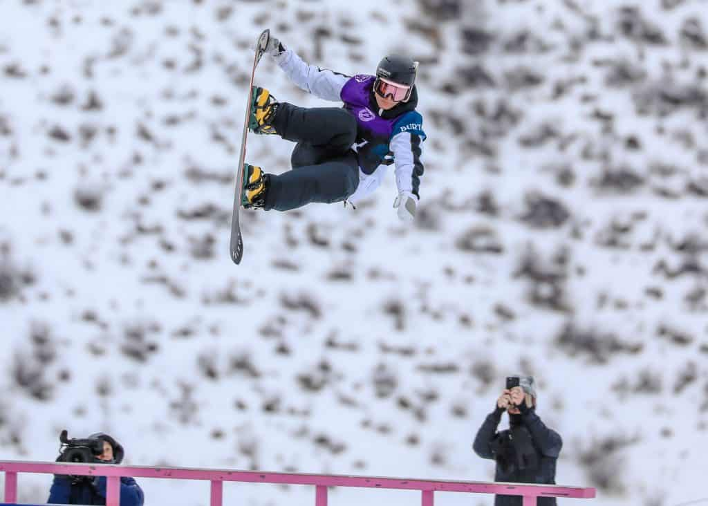 Dusty Henricksen launches the mid rail section during the mens slopestyle semifinals for the Burton US Open Wednesday in Vail. Henricksen qualified first for finals Friday.