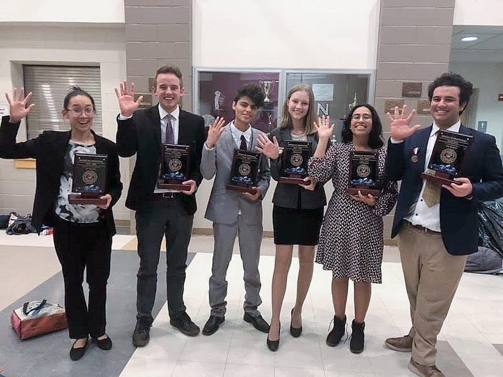 Eagle Valley High School brought back six state champions in five events from last weekend's State Speech Festival Tournament in Greeley. From left are state champions: Esther San Diego, Program Oral Interpretation; Riley Dudley, Impromptu Speaking; Herry García and Ella Srholez, Duo Interpretation; Saroja Manickam, Original Oratory; Ian Forrester, Creative Story Telling.