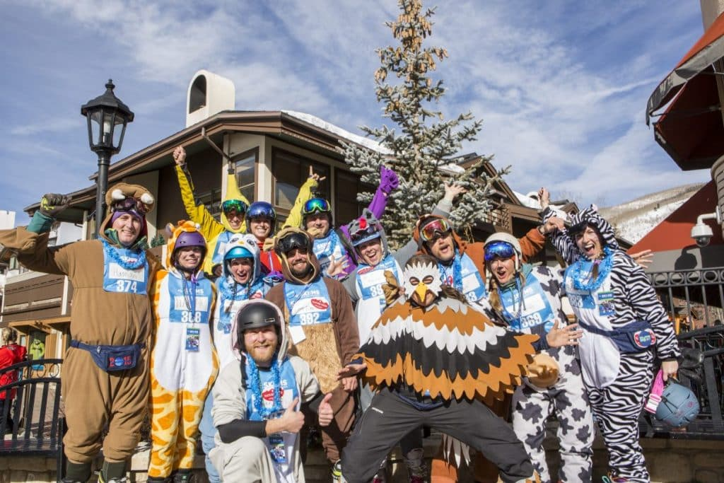 Jonny Moseley's Vertical Express for MS brings out plenty of costumed skiers and riders for a day of racing and racking up vertical feet in this fundraiser for Can Do MS this Saturday on Vail Mountain.