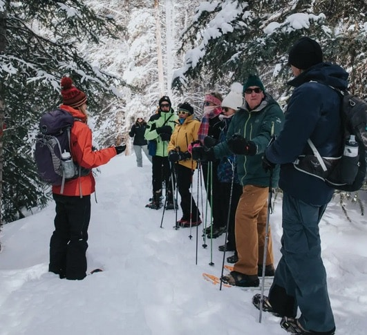 Join Walking Mountains and learn a little history of Eagle County while hiking on a snowshoe trail up East Brush Creek trail with Eagle Valley historian, Kathy Heicher on Saturday.